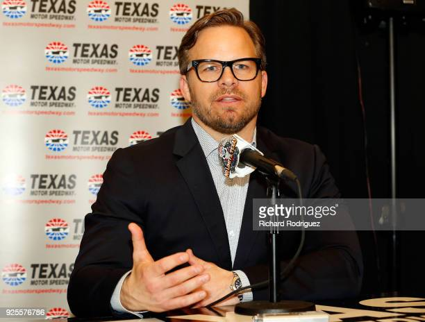 Marcus Smith COO of Speedway Motorsports speaks at a press conference during Media Day at Texas Motor Speedway on February 28 2018 in Fort Worth Texas