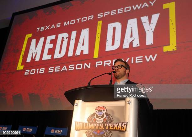 Marcus Smith COO of Speedway Motorsports speaks during the Media Day program at Texas Motor Speedway on February 28 2018 in Fort Worth Texas