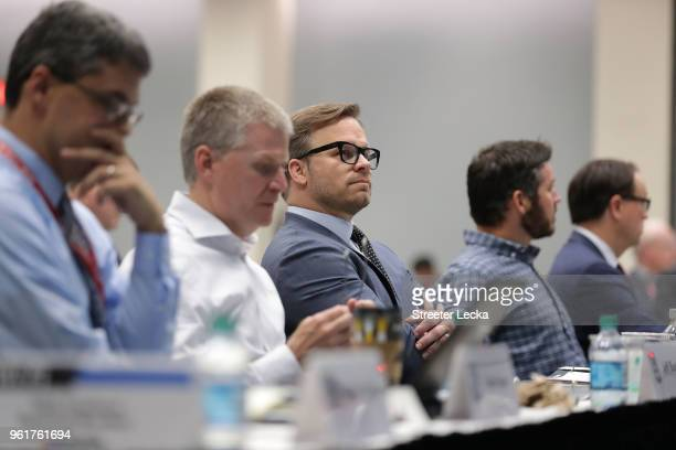 Marcus Smith COO of Speedway Motorsports watches on during the NACAR Hall of Fame Voting Day at NASCAR Hall of Fame on May 23 2018 in Charlotte North...