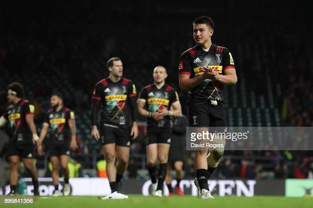 Marcus Smith of Harlequins applauds the fans following the Aviva Premiership Big Game 10 match between Harlequins and Northampton Saints at...