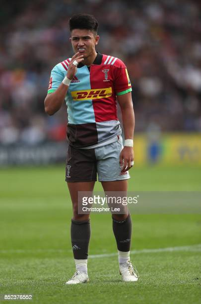 Marcus Smith of Harlequins during the Aviva Premiership match between Harlequins and Leicester Tigers at Twickenham Stoop on September 23 2017 in...