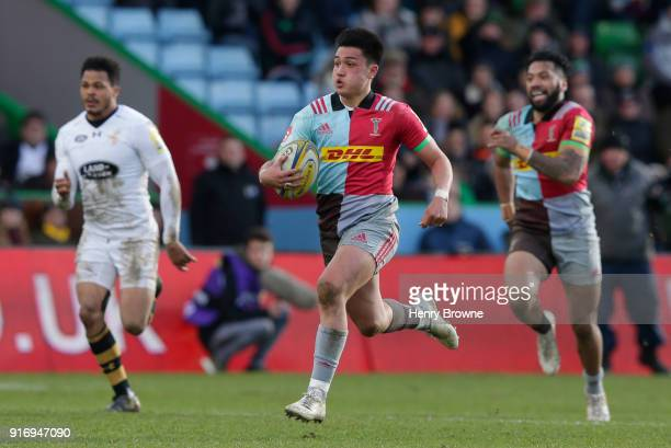 Marcus Smith of Harlequins during the Aviva Premiership match between Harlequins and Wasps at Twickenham Stoop on February 11 2018 in London England