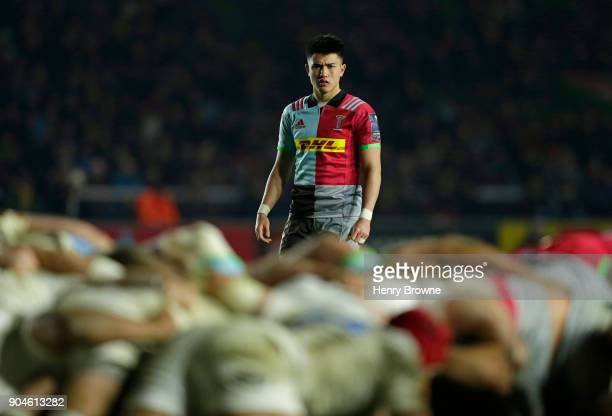 Marcus Smith of Harlequins during the European Rugby Champions Cup match between Harlequins and Wasps at Twickenham Stoop on January 13 2018 in...