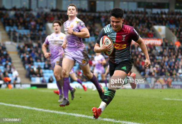 Marcus Smith of Harlequins goes over to score a try during the semifinal of the Premiership Rugby Cup between Exeter Chiefs and Harlequins at Sandy...