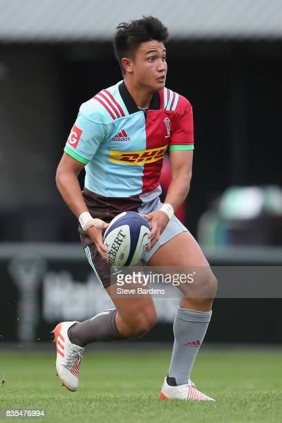Marcus Smith of Harlequins in action during the pre season match between Harlequins and Jersey Reds at the Twickenham Stoop on August 19 2017 in...