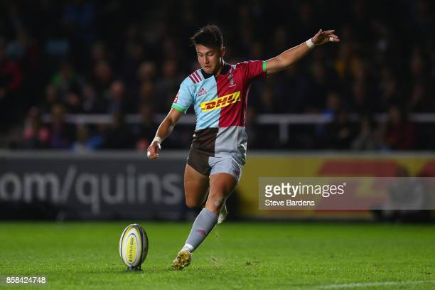 Marcus Smith of Harlequins kicks a conversion during the Aviva Premiership match between Harlequins and Sale Sharks Sharks at Twickenham Stoop on...