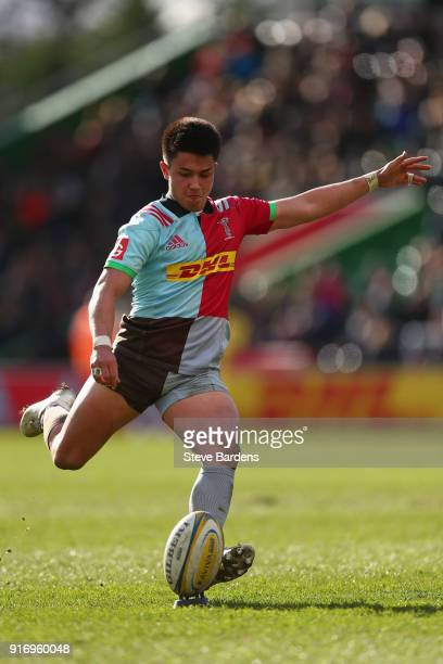 Marcus Smith of Harlequins kicks a conversion during the Aviva Premiership match between Harlequins and Wasps at Twickenham Stoop on February 11 2018...