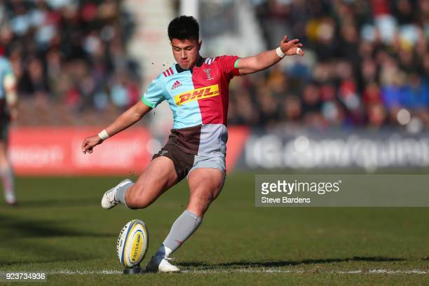 Marcus Smith of Harlequins kicks a conversion during the Aviva Premiership match between Harlequins and Newcastle Falcons at Twickenham Stoop on...