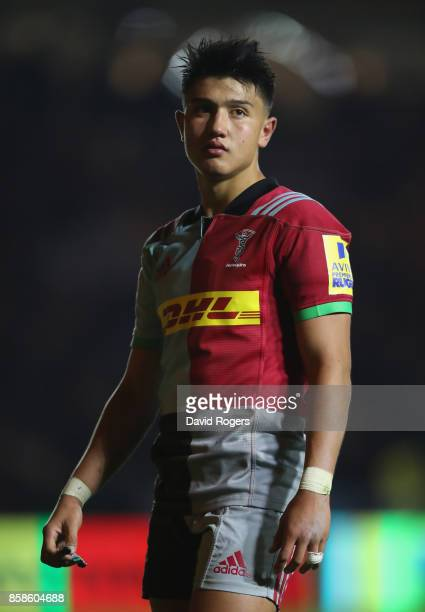 Marcus Smith of Harlequins looks on during the Aviva Premiership match between Harlequins and Sale Sharks Sharks at Twickenham Stoop on October 6...