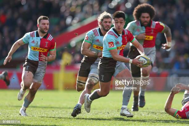 Marcus Smith of Harlequins makes a break during the Aviva Premiership match between Harlequins and Wasps at Twickenham Stoop on February 11 2018 in...