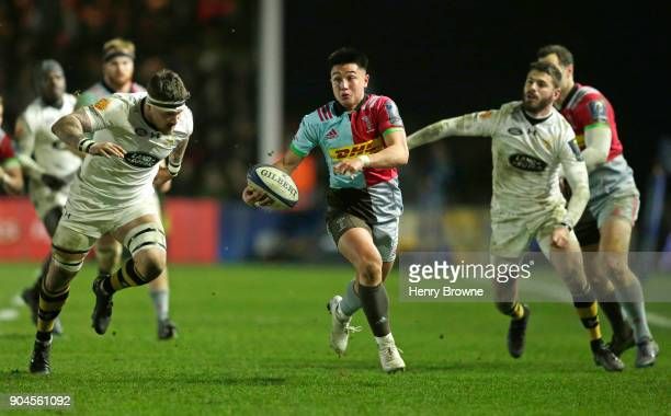 Marcus Smith of Harlequins makes a run during the European Rugby Champions Cup match between Harlequins and Wasps at Twickenham Stoop on January 13...