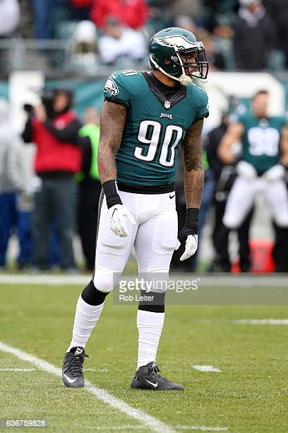 Marcus Smith of the Philadelphia Eagles looks on during the game against the Washington Redskins at Lincoln Financial Field on December 11 2016 in...