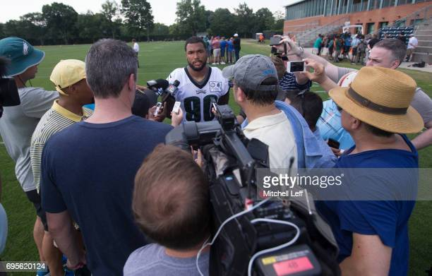 Marcus Smith of the Philadelphia Eagles talks to the media during mandatory minicamp at the NovaCare Complex on June 13 2017 in Philadelphia...