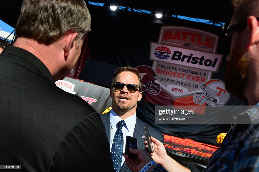 Marcus Smith, President and COO of Speedway Motorsports, talks with the media at Bristol Motor Speedway on October 14, 2013 in Bristol, Tennessee. Bristol Motor Speedway plans to transform the legendary Speedway into the world's largest football stadium for the inaugural Battle at Bristol, to be held on Saturday, September 10, 2016. The event will feature a game between the Virginia Tech Hokies and Tennessee Volunteers and is projected to set the NCAA record for highest single-game attendance.