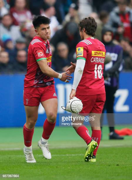 Marcus Smith replaces Demetri Catrakilis of Harlequins during the Aviva Premiership match between Saracens and Harlequins at London Stadium on March...