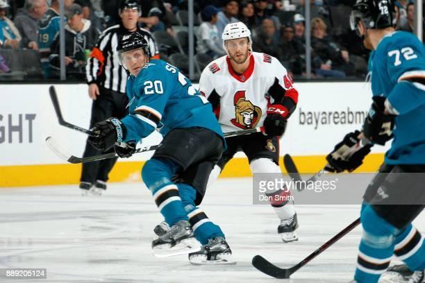 Marcus Sorensen of the San Jose Sharks and Gabriel Dumont of the Ottawa Senators look at SAP Center on December 9 2017 in San Jose California