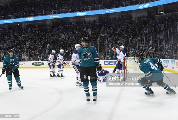 Marcus Sorensen of the San Jose Sharks celebrates after scoring a goal against the Edmonton Oilers during the second period in Game Four of the...