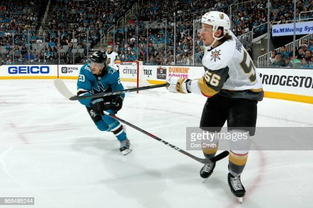 Marcus Sorensen of the San Jose Sharks defends Erik Haula of the Vegas Golden Knights in Game Six of the Western Conference Second Round during the...