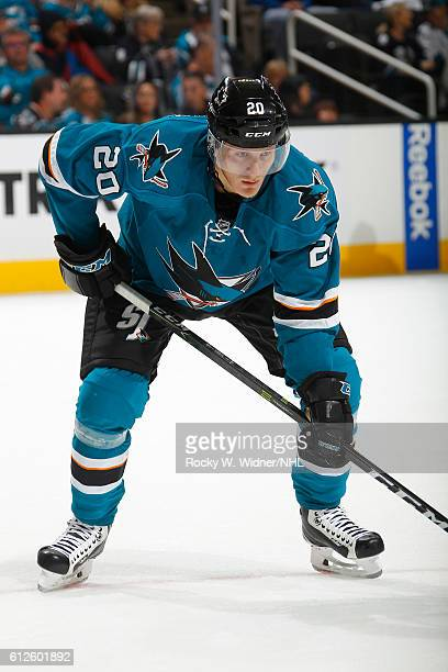 Marcus Sorensen of the San Jose Sharks faces off against the Arizona Coyotes at SAP Center on September 30 2016 in San Jose California