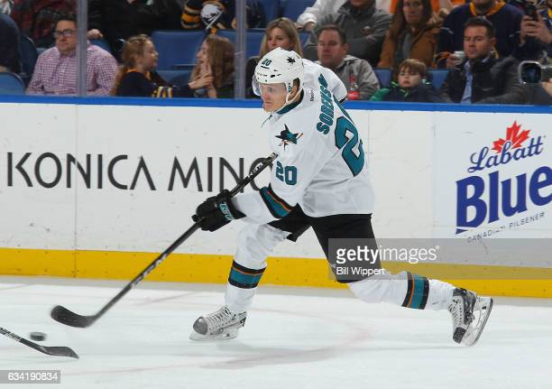 Marcus Sorensen of the San Jose Sharks fires a shot during his first NHL game against the Buffalo Sabres at the KeyBank Center on February 7 2017 in...