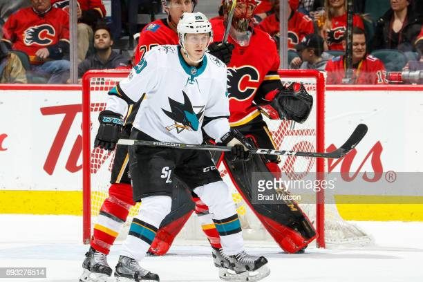 Marcus Sorensen of the San Jose Sharks is ready to attack in a game against the San Jose Sharks at the Scotiabank Saddledome on Saturday night