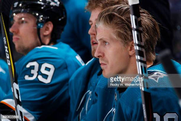 Marcus Sorensen of the San Jose Sharks looks on during the game against the Carolina Hurricanes at SAP Center on December 7 2017 in San Jose...