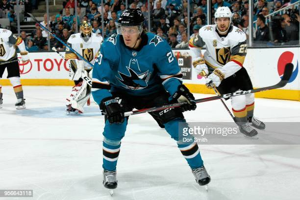 Marcus Sorensen of the San Jose Sharks looks on in Game Six of the Western Conference Second Round against the Vegas Golden Knights during the 2018...
