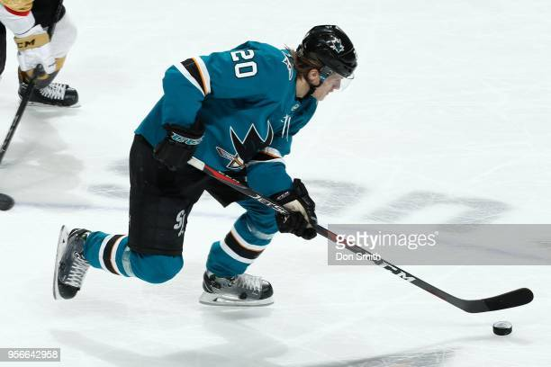 Marcus Sorensen of the San Jose Sharks moves the puck in Game Six of the Western Conference Second Round against the Vegas Golden Knights during the...