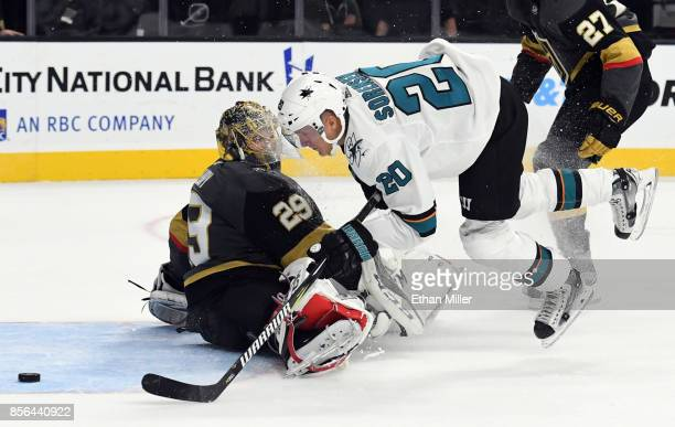 Marcus Sorensen of the San Jose Sharks scores a goal against MarcAndre Fleury of the Vegas Golden Knights in the first period of their preseason game...