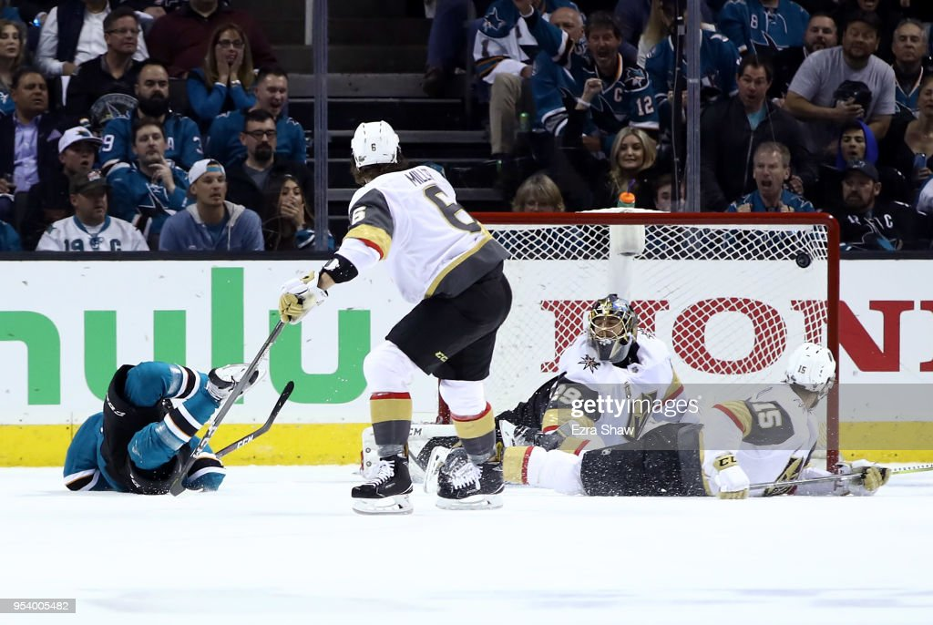 Marcus Sorensen #20 of the San Jose Sharks (on ice) scores a goal on Marc-Andre Fleury #29 of the Vegas Golden Knights in the first period during Game Four of the Western Conference Second Round during the 2018 NHL Stanley Cup Playoffs at SAP Center on May 2, 2018 in San Jose, California.