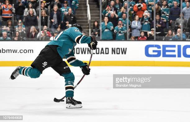 Marcus Sorensen of the San Jose Sharks scores a penalty shot goal against Cam Talbot of the Edmonton Oilers at SAP Center on January 8 2018 in San...