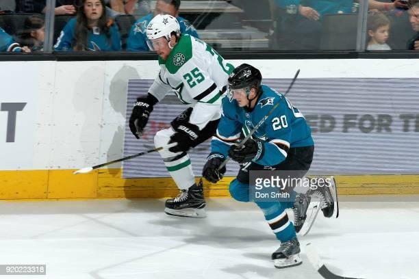 Marcus Sorensen of the San Jose Sharks skates against Brett Ritchie of the Dallas Stars at SAP Center on February 18 2018 in San Jose California