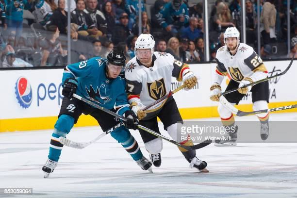 Marcus Sorensen of the San Jose Sharks skates against Teemu Pulkkinen of the Vegas Golden Knights at SAP Center on September 21 2017 in San Jose...