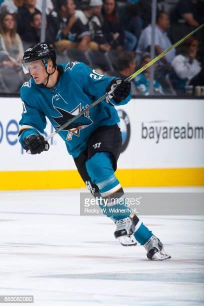 Marcus Sorensen of the San Jose Sharks skates against the Vegas Golden Knights at SAP Center on September 21 2017 in San Jose California