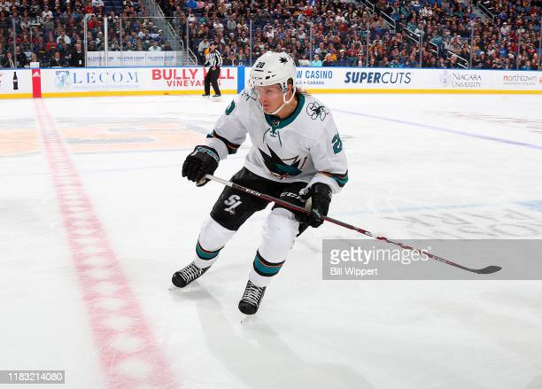 Marcus Sorensen of the San Jose Sharks skates during an NHL game against the Buffalo Sabres on October 22 2019 at KeyBank Center in Buffalo New York...