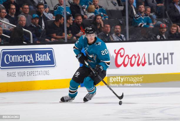 Marcus Sorensen of the San Jose Sharks skates with the puck against the Carolina Hurricanes at SAP Center on December 7 2017 in San Jose California