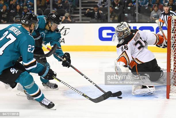 Marcus Sorensen of the San Jose Sharks with an assist from Joonas Donskoi shoots and scores getting his shot past goalie John Gibson of the Anaheim...