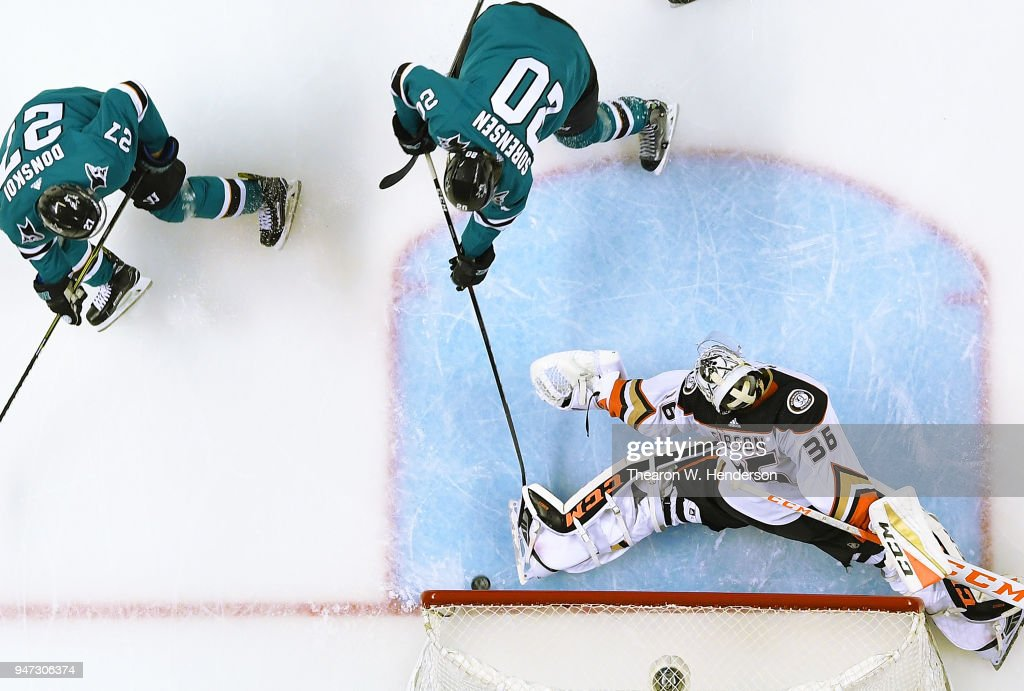 Marcus Sorensen #20 of the San Jose Sharks with an assist from Joonas Donskoi #27 shoots and scores getting his shot past goalie John Gibson #36 of the Anaheim Ducks during the second period in Game Three of the Western Conference First Round during the 2018 NHL Stanley Cup Playoffs at SAP Center on April 16, 2018 in San Jose, California.