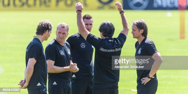 Marcus Sorg Andreas Koepke Miroslav Klose head coach Joachim Loew and Thomas Schneider are seen during a training session on June 14 2017 in...