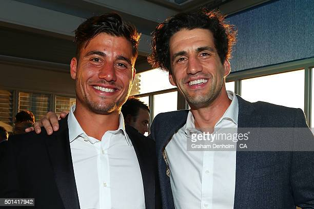 Marcus Stoinis and Andy Lee pose during the Melbourne Stars Big Bash League season launch at The Emerson on December 15 2015 in Melbourne Australia