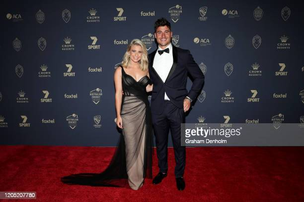 Marcus Stoinis and Emma Vosti arrive ahead of the 2020 Cricket Australia Awards at Crown Palladium on February 10 2020 in Melbourne Australia