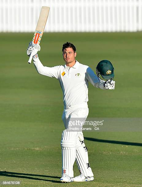 Marcus Stoinis of Australia A celebrates after scoring a century during the Winter Series between Australia A and South Africa A at Allan Border...