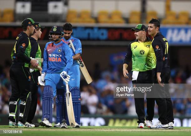 Marcus Stoinis of Australia and Aaron Finch of Australia celebrate after game one of the the International Twenty20 series between Australia and...