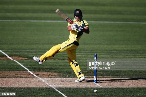 Marcus Stoinis of Australia bats during game three of the One Day International series between New Zealand and Australia at Seddon Park on February 5...