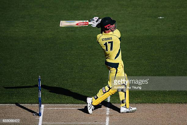 Marcus Stoinis of Australia bats during the first One Day International game between New Zealand and Australia at Eden Park on January 30 2017 in...