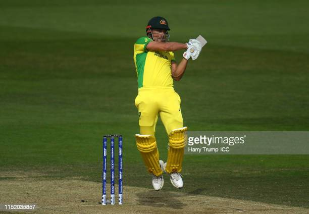 Marcus Stoinis of Australia bats during the ICC Cricket World Cup 2019 Warm Up match between Australia and Sri Lanka at Ageas Bowl on May 27 2019 in...