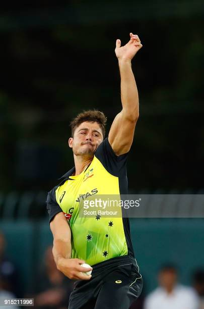 Marcus Stoinis of Australia bowls during the Twenty20 International match between Australia and England at Blundstone Arena on February 7 2018 in...