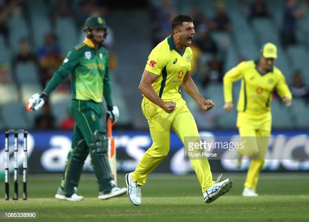 Marcus Stoinis of Australia celebrates after taking the wicket of Heinrich Klaasen of South Africa during game two of the Gillette One Day...