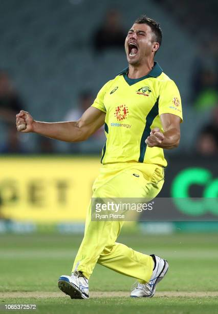 Marcus Stoinis of Australia celebrates after taking the wicket of Dale Steyn of South Africa during game two of the Gillette One Day International...