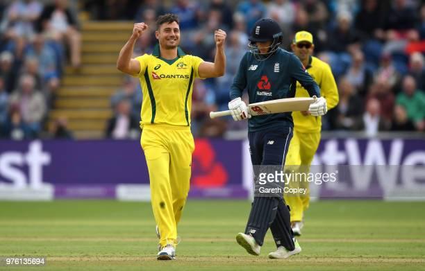 Marcus Stoinis of Australia celebrates dismissing Joe Root of England during the 2nd Royal London ODI between England and Australia at SWALEC Stadium...